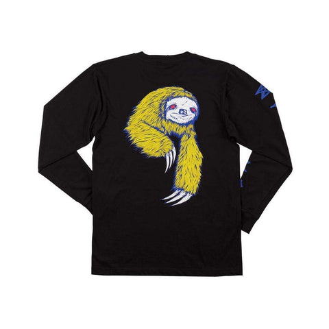 Welcome Sloth Long Sleeve Tee Black Blue Yellow-50-50 Skate Shop