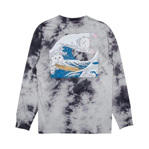 Ripndip Great Wave Long Sleeve Tee Grey tie Dye-50-50 Skate Shop