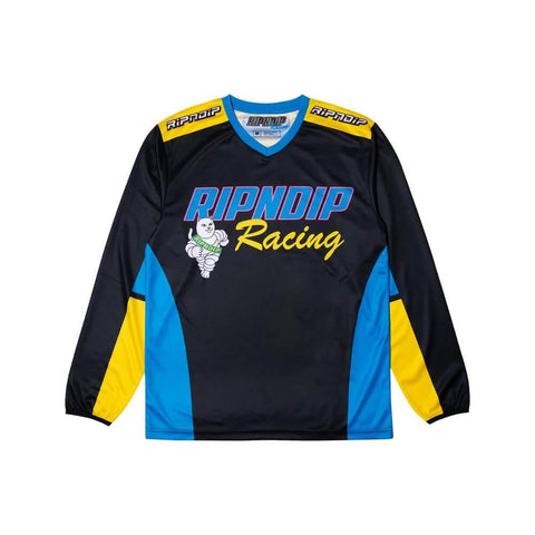 Ripndip Long Sleeve Jersey Racing Team Black-50-50 Skate Shop