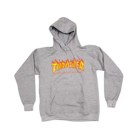 Thrasher Flame Logo Hoodie Light Grey