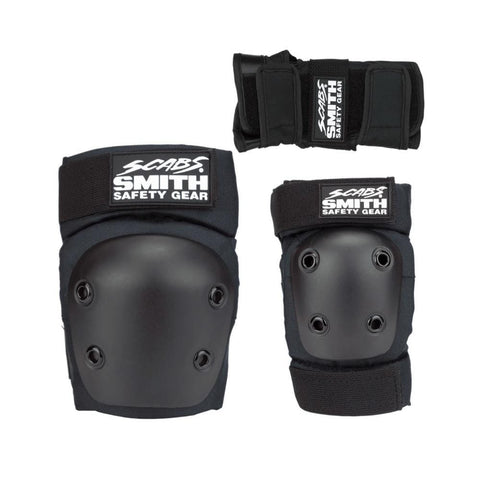 Smith Scabs Youth Tripack Pad Set Knee Elbow Wrist Guards Black-50-50 Skate Shop
