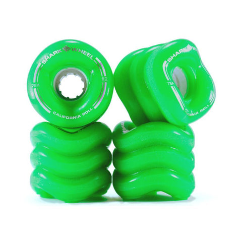 Shark Skateboard Wheels California Roll 60mm x 78A Green-50-50 Skate Shop