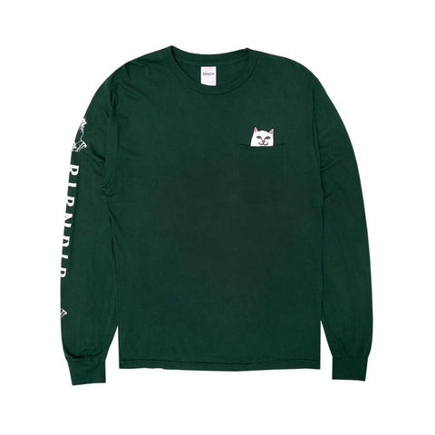 Ripndip Long Sleeve Tee Lord Nermal Hunter Green-50-50 Skate Shop