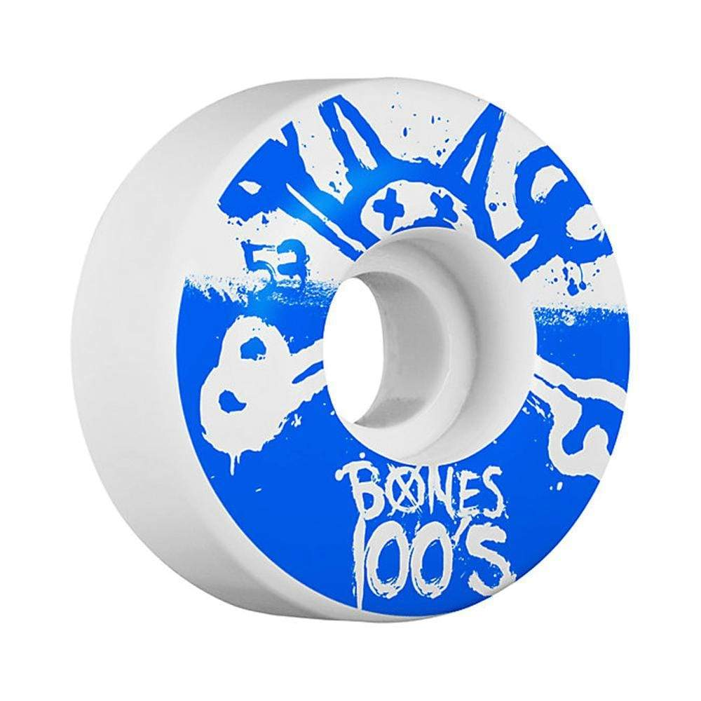 Bones Skateboard Wheels 53mm 100/'s White With Reds Bearings