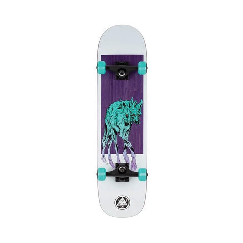 "Welcome Skateboard Complete Maned Wolf 8.0"" x 31.1"" White Purple Teal"