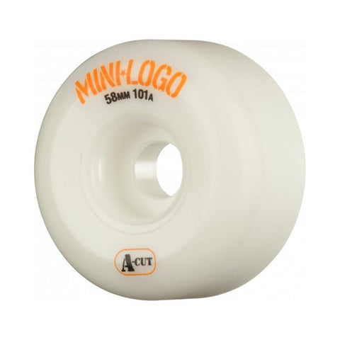 Mini Logo Skateboard Wheels A-Cut White 58mm x 101A - 50-50 Skate Shop