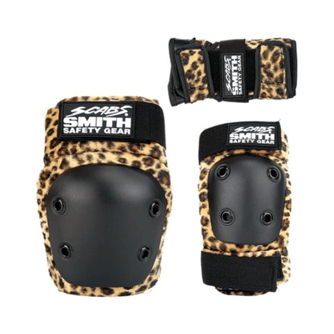 Smith Scabs Youth Tripack Pad Set Knee Elbow Wrist Guards Brown Leopard-50-50 Skate Shop