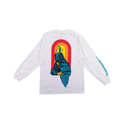 Welcome Mothman Long Sleeve Tee - White - 50-50 Skate Shop