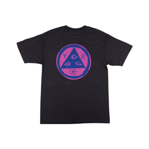 Welcome Vertigo Tee - Vintage Black/Pink/Blue - 50-50 Skate Shop