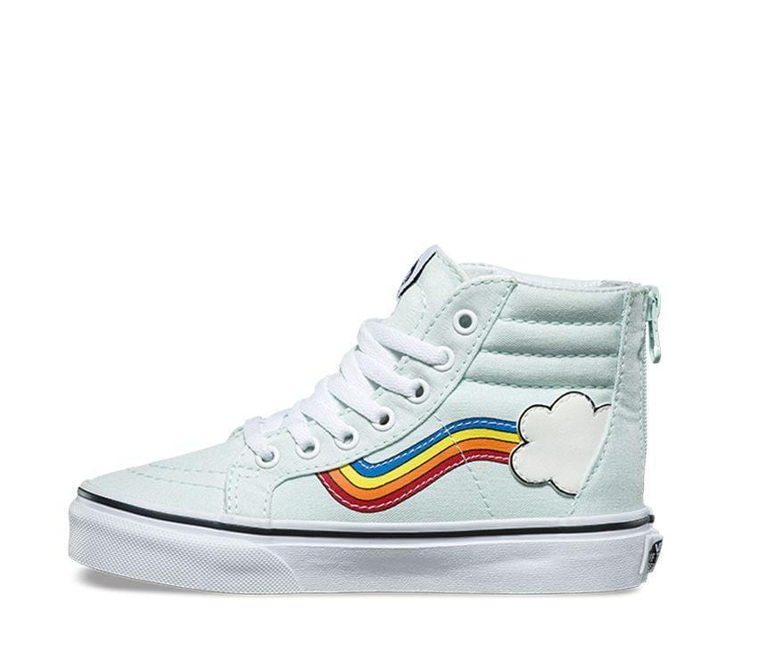 2d190cac43c1 Vans Kids Sk8 Hi Rainbow Sidestripe Wan Blue True White - 50-50 Skate Shop.  Images   1   2   3   4   5