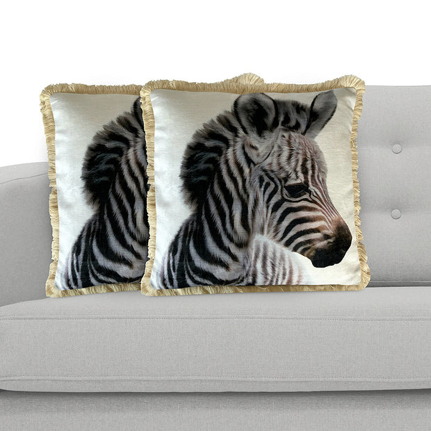 Zebra 45cm x 45cm Plush Cushion Cover