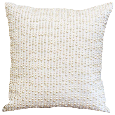 Beaded Cushion Cover - Pearl