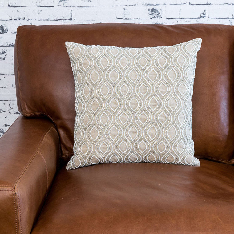 Beaded Cushion Cover - Ivory
