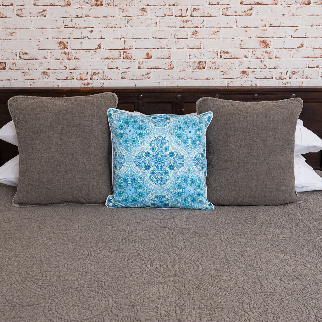 Vintage Wash Cotton Coverlet - Coffee
