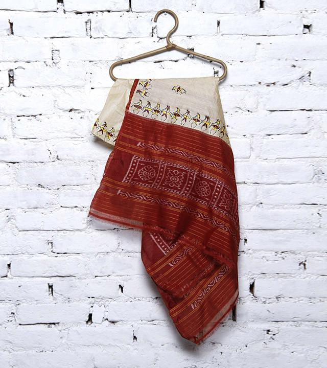 CraftsCollection.in - Beige Tussar Silk Sambalpuri Dupatta with handpainted Tribal art