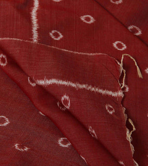 CraftsCollection.in - Maroon Cotton Odisha Handloom Stole with Ikat Motifs