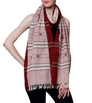 CraftsCollection.in - Off-White & Maroon Odisha Handloom Kotpad Stole