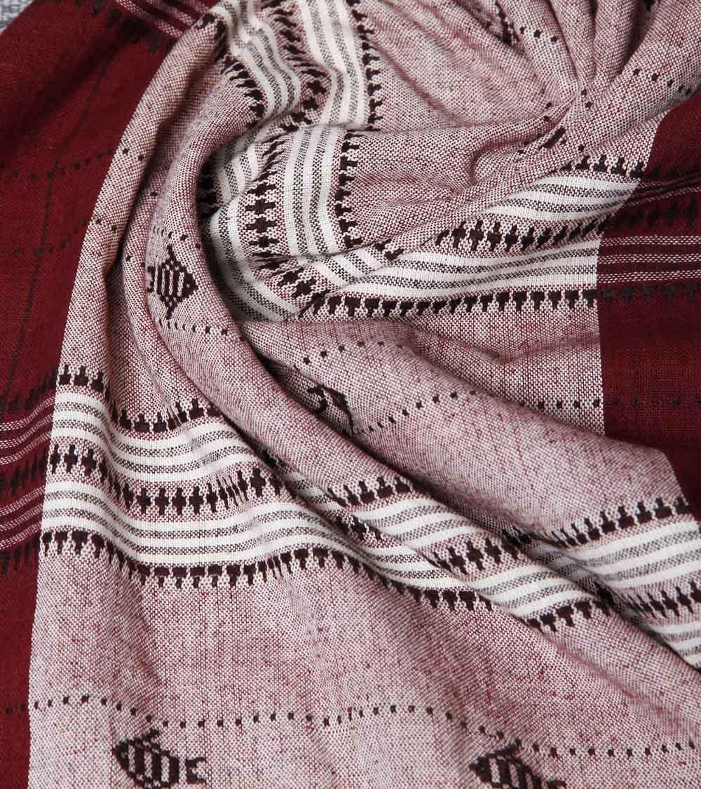 CraftsCollection.in - Offwhite & Maroon Odisha Handloom Kotpad Stole