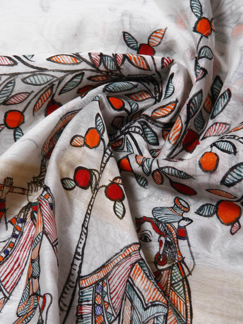 CraftsCollection.in - Chanderi Cotton Dupatta with handpainted Madhubani art