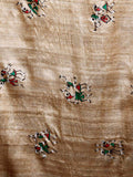CraftsCollection.in - Beige Tussar Ghicha Silk Dupatta with handpainted Tribal art