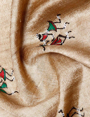 CraftsCollection.in - Beige Tussar Ghicha Silk Dupatta with Hand Painted Tribal Art