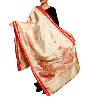 CraftsCollection.in - Golden Silk Dupatta with Hand Painted Pattachitra Art