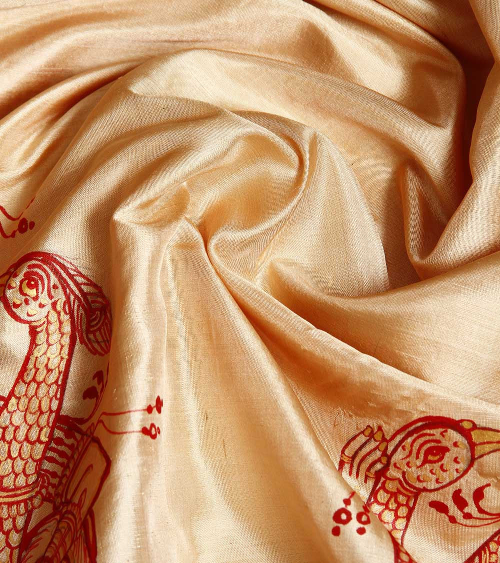 CraftsCollection.in - Golden Silk Dupatta with handpianted Pattachitra art