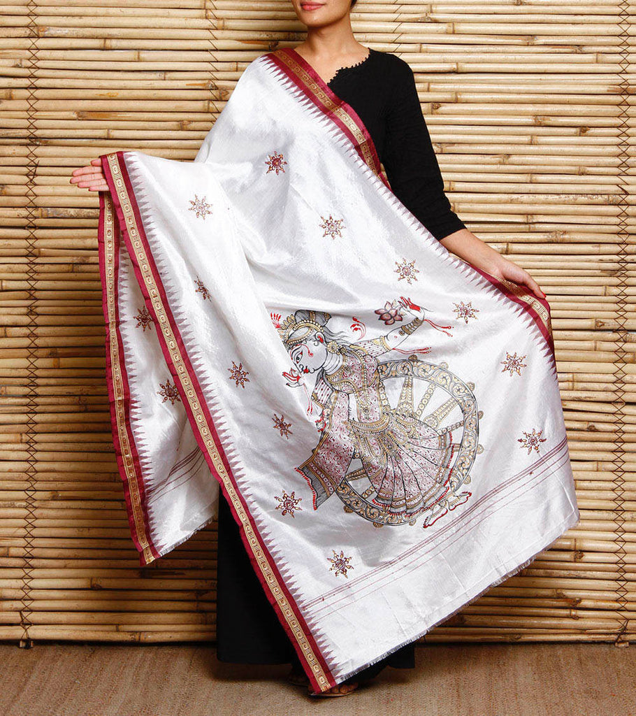 CraftsCollection.in - White Silk Dupatta with handpianted Pattachitra art