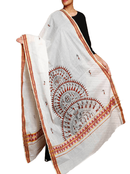 Cotton Handloom Dupatta with Hand Painted Tribal Art