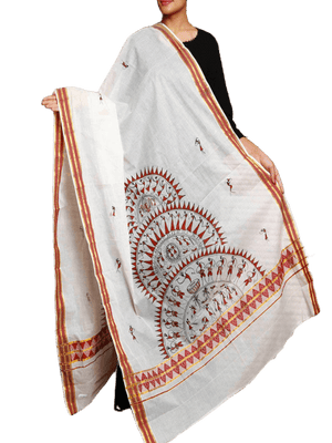 CraftsCollection.in - Cotton Handloom Dupatta with Hand Painted Tribal Art