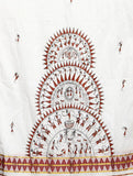 CraftsCollection.in - Cotton Handloom Dupatta with handpainted Tribal art
