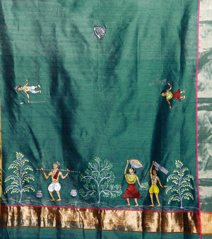 CraftsCollection.in - Green Chanderi Silk Dupatta with Hand Painted Tribal Art