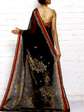 CraftsCollection.in - Black Silk Saree with handpainted Pattachitra art
