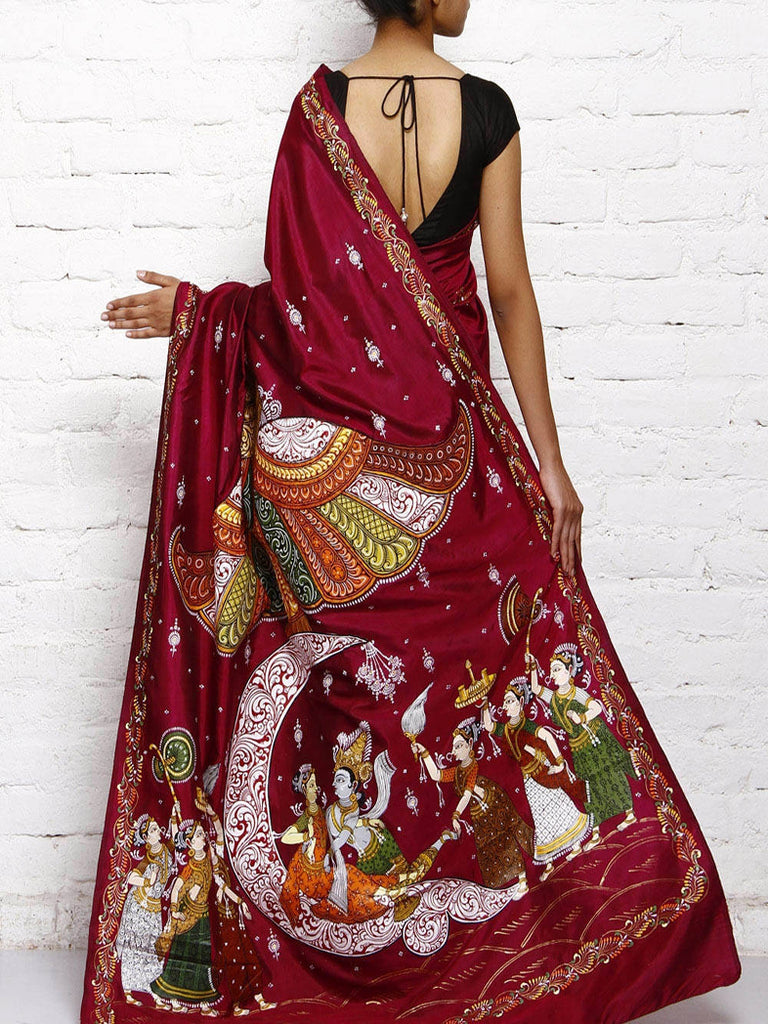 CraftsCollection.in - DarkPurple Silk Saree with handpainted Pattachitra art