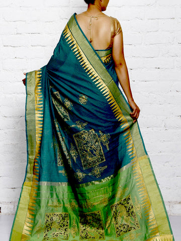 CraftsCollection.in - Chanderi Silk Saree with handpainted Pattachitra Art
