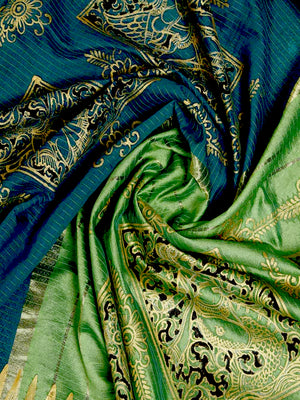 CraftsCollection.in - Chanderi Silk Saree with Hand Painted Pattachitra Art