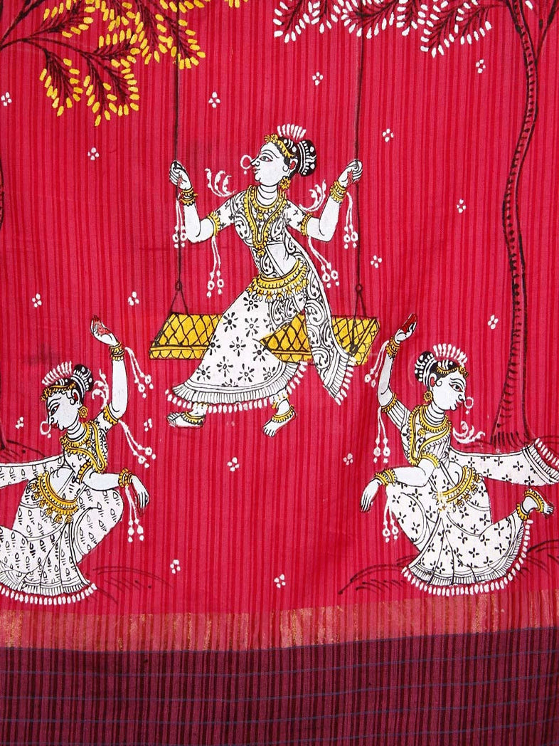 CraftsCollection.in - Pink Cotton  Dupatta with handpainted pattachitra art