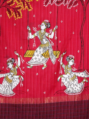 CraftsCollection.in - Pink Cotton  Dupatta with Hand Painted Pattachitra Art