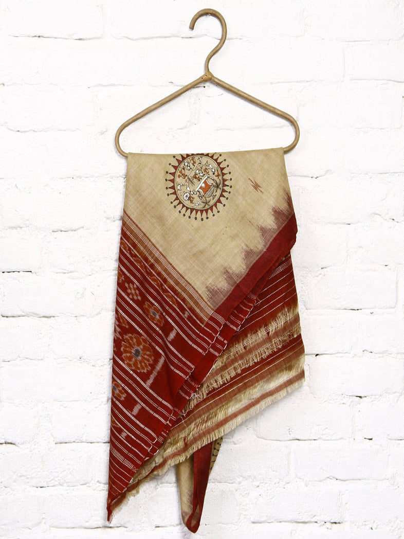 CraftsCollection.in - Tussar Silk Sambalpuri Dupatta with Hand Painted Tribal Art