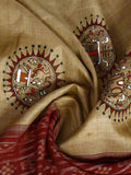 CraftsCollection.in - Tussar Silk Sambalpuri Dupatta with handpainted Tribal art