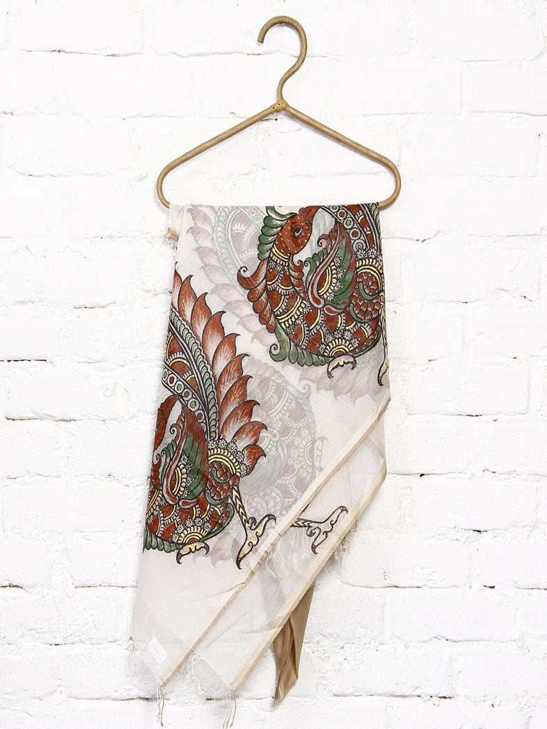 CraftsCollection.in - Beige Maheswari Silk Dupatta with Hand Painted Kalamkari Art