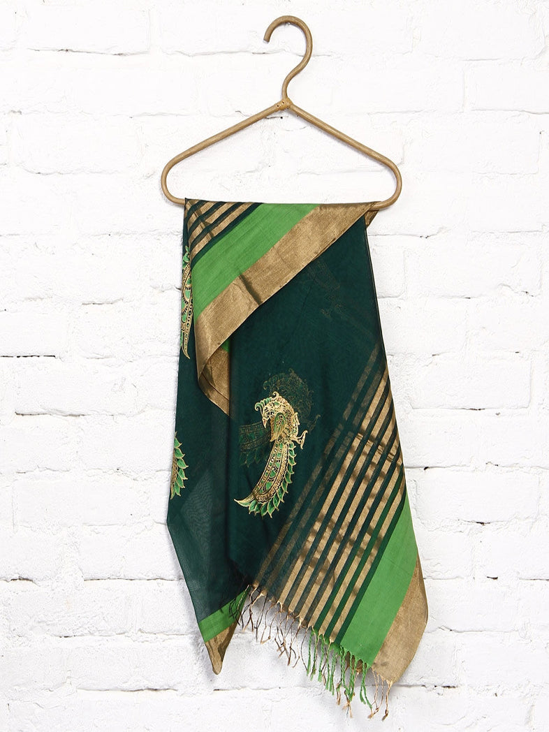 CraftsCollection.in - Maheswari Silk Dupatta with handpainted Kalamkari art