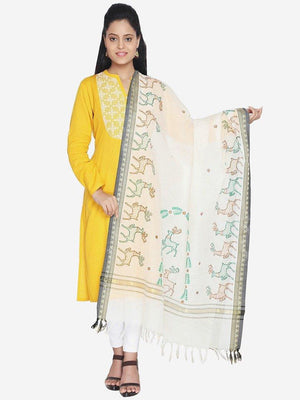 CraftsCollection.in - Cotton Dupatta with Hand Painted Tribal Art