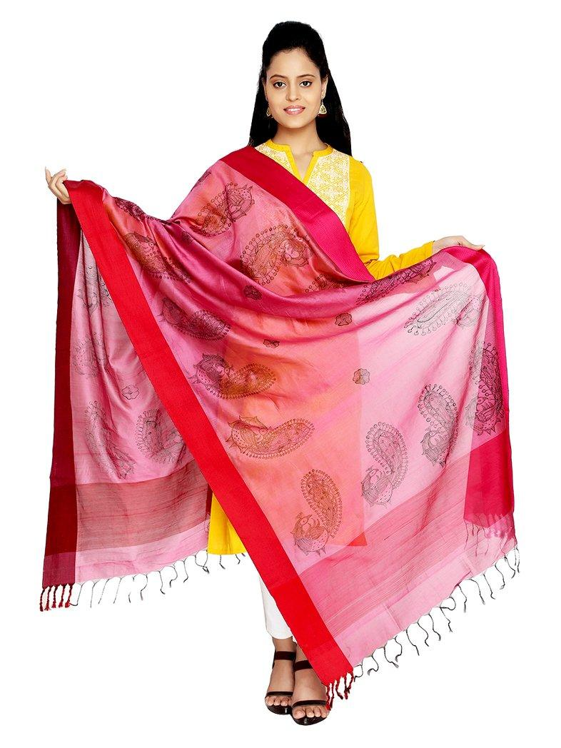 CraftsCollection.in - DarkPink Silk Dupatta with handpainted Madhubani art