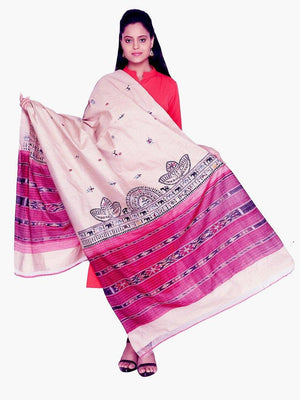CraftsCollection.in - Beige Tussar Silk Dupatta with Hand Painted Tribal Art