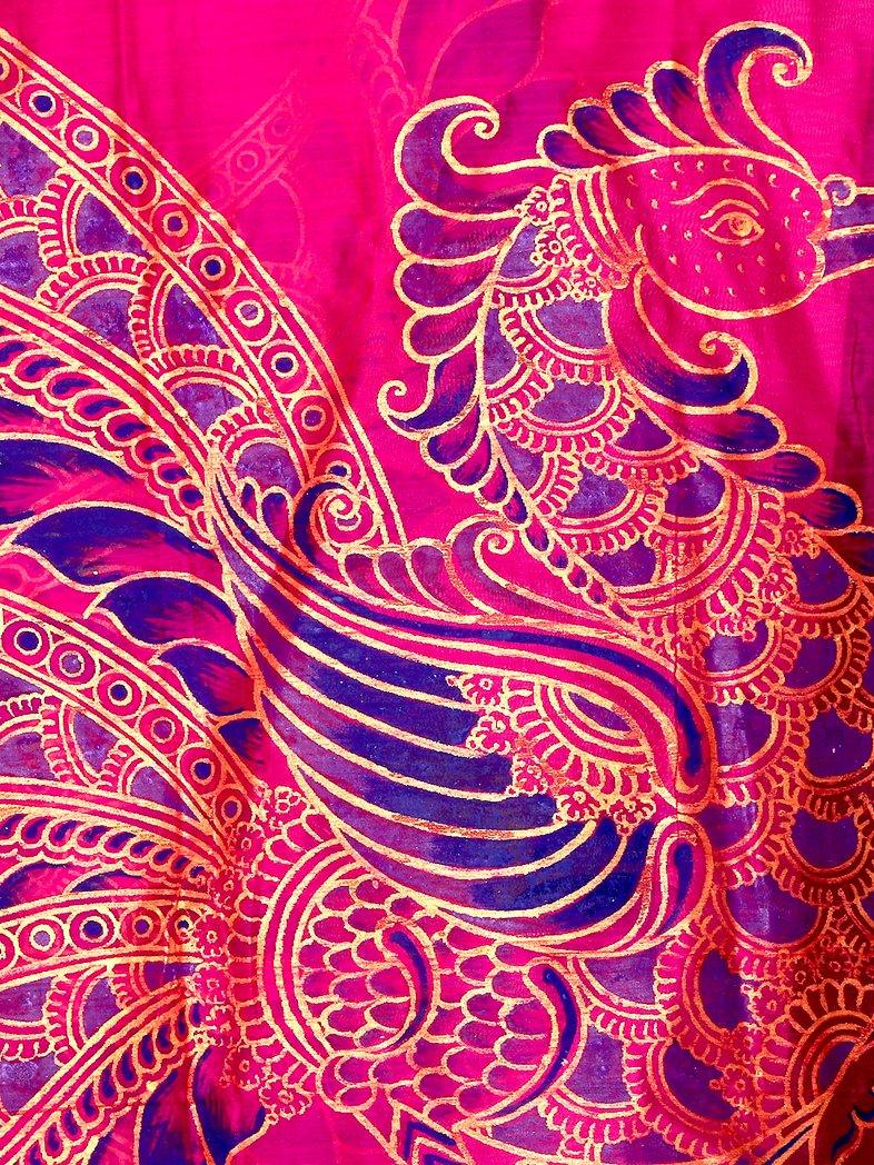 CraftsCollection.in - Purple Silk Dupatta with handpainted Kalamkari art