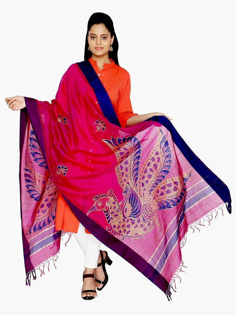 CraftsCollection.in - Purple Silk Dupatta with Hand Painted Kalamkari Art