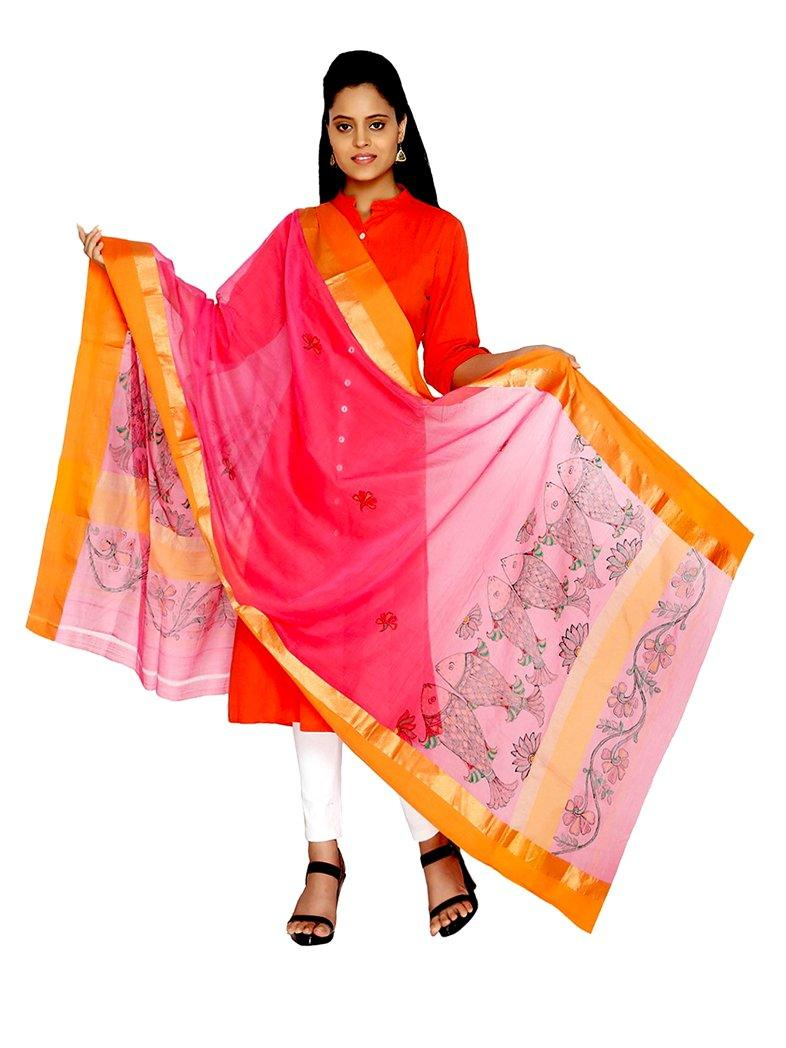 CraftsCollection.in - Pink Silk Dupatta with Hand Painted Madhubani Art