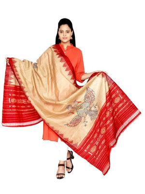 CraftsCollection.in - Beige Sambalpuri Dupatta with Hand Painted Pattachitra Art