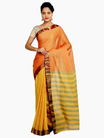 Orange Mutlicolour Soft Silk Saree